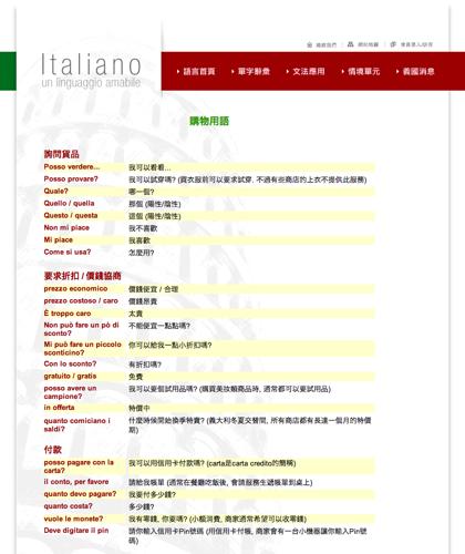 購物用語 - Italiano -