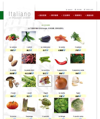 義大利常見蔬菜 Le Verdure - Italiano -