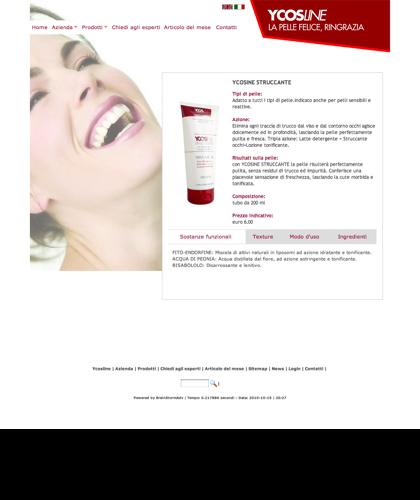 Ycosline Prodotti Viso Ycosine Struccante - Ycosline - Azienda Che Produce Cosmetici E Prodotti Di Bellezza Per La Pelle. Ycosline Antirughe Fitoendorfine Idratanti Farmacia