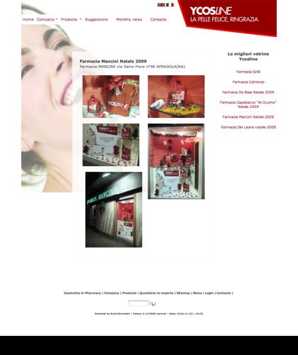 Ycosline Prodotti Viso - Farmacia Mancini Natale 2009 - Ycosline - Azienda Che Produce Cosmetici E Prodotti Di Bellezza Per La Pelle. Ycosline Antirughe Fitoendorfine Idratanti Farmacia