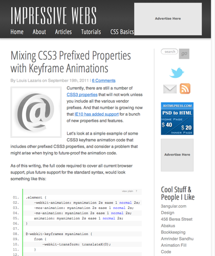 Mixing Css3 Prefixed Properties With Keyframe Animations | Impressive Webs