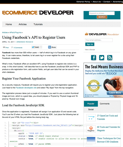 Using Facebook's Api To Register Users  |  Ecommerce Developer