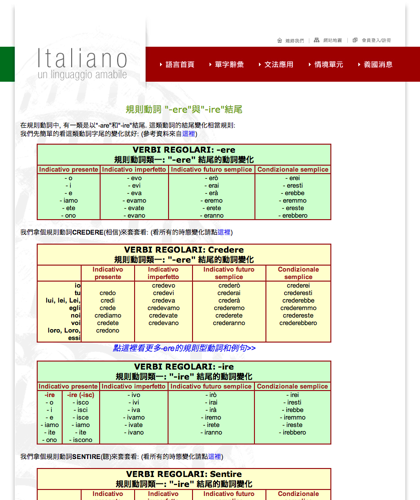 規則動詞-ere與-ire結尾 - Italiano -