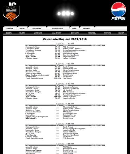 Calendario Stagione 2009/2010 - Juvecaserta -