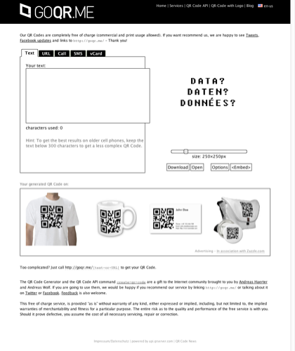 Qr Code Generator - Create Qr Code [business Card, T-shirt, Mug, Sticker] - Goqr.me