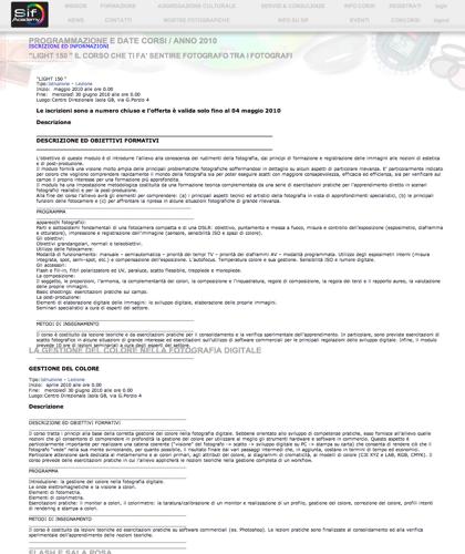 Programmazione E Date Corsi / Anno 2010 - Sif Academy -