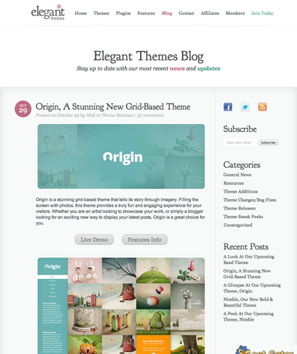 Origin, A Stunning New Grid-based Theme | Elegant Themes Blog