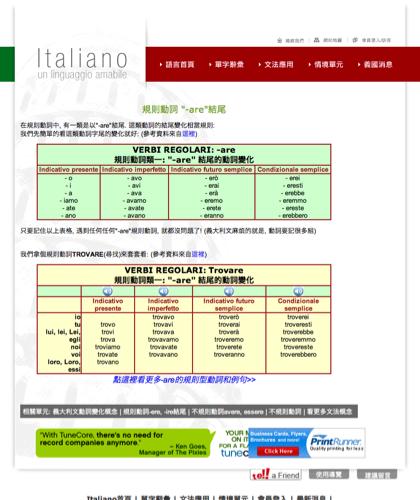 規則動詞-are結尾 - Italiano -