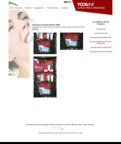 Ycosline Prodotti Viso - Farmacia De Biasi Natale 2009 - Ycosline - Azienda Che Produce Cosmetici E Prodotti Di Bellezza Per La Pelle. Ycosline Antirughe Fitoendorfine Idratanti Farmacia
