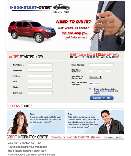 1-800-start-over Helps Consumers With Credit Problems Get Car Loans