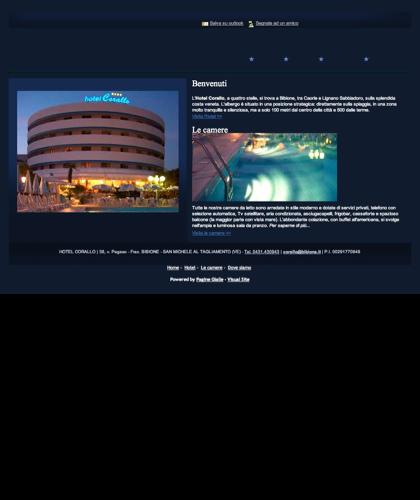 Hotel. Hotel Corallo, Bibione Spiaggia, Venzia, Italia. Albergo 4 Stelle Con Privilegiata Posizione Fronte Mare Sulla Spiaggia Di Bibione. Piscina, Aria Condizionata, Parcheggio Privato E Raffinato Ristorante.