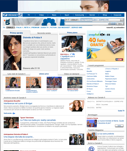 Mediaset.it: Stasera In Tv, Mediaset Premium, Tv, News, Sport, Community,servizi